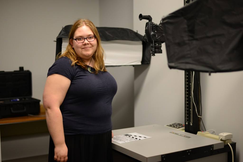 Jackie frequently works in our camera studio photographing archival material.