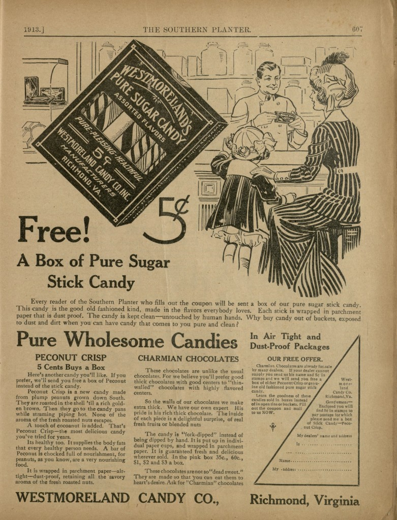 Advertisement for Peconut Crisp in The Southern Planter