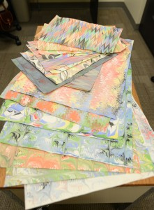 A variety of the painted papers Crista created.