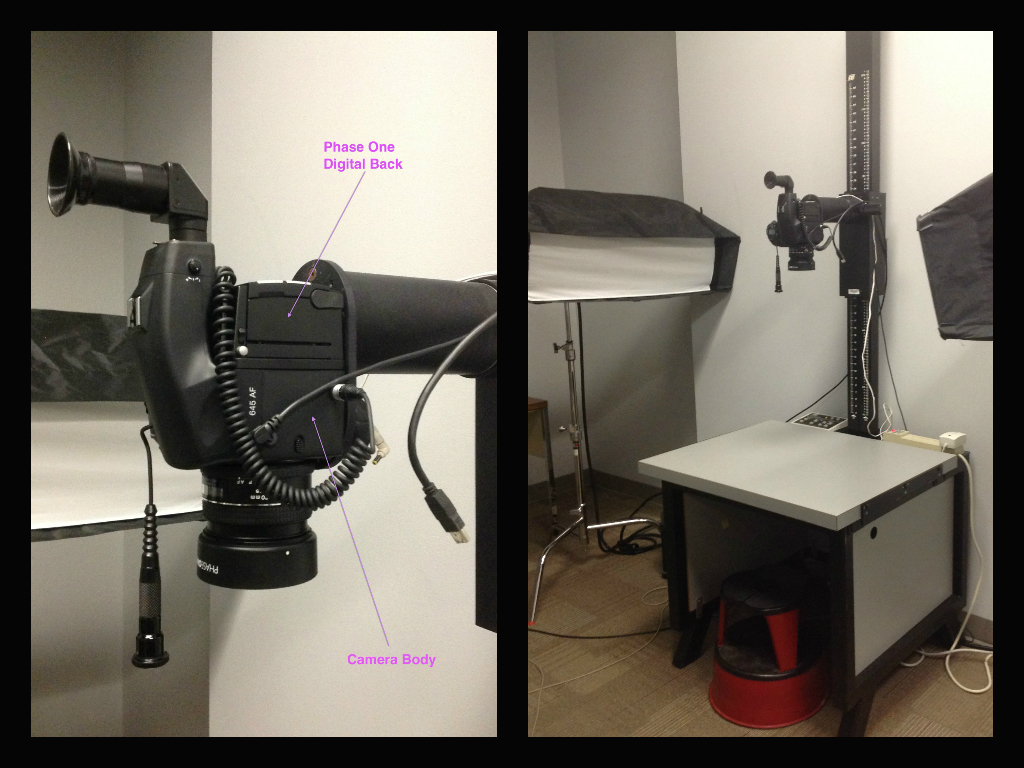 Left: close-up of our medium format digital back and camera system Right: Our photography studio set-up is perfect for the majority of material that we handle, such as manuscripts, maps and rare books.