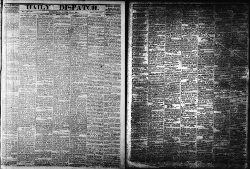 Exposure problems during the microfilming process have a lasting impact on the usability of the images. Much of the text, particularly in the underexposed document to the right, is unreadable to an OCR application.