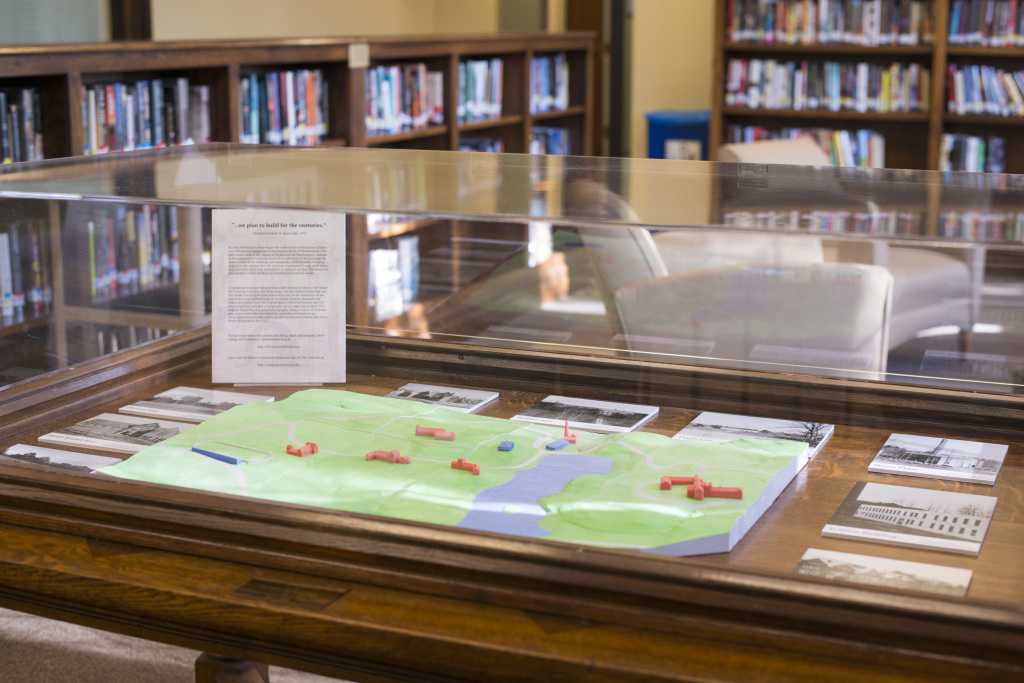 The completed model is displayed on the second floor of Boatwright Memorial Library.