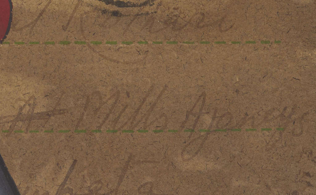 "Address line of the postcard, that we believe reads ""Mills Agency."""