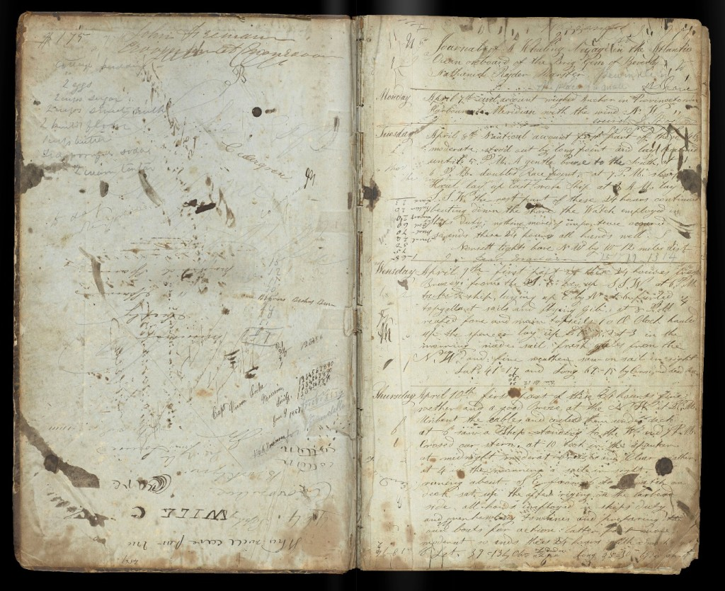 Inside cover and first page of 1850s ship's journal.